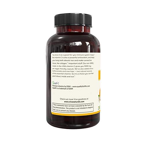 Viva Naturals Premium Non-GMO Vitamin C with Bioflavonoids & Rose Hips, 1000 mg, 250 Veg Caps