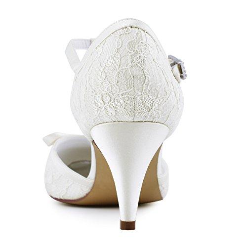Elegantpark Femmes Pompes Cône Talon Fermé Orteils Arcs T-strap Dentelle Nuptiale Chaussures De Mariage Ivoire