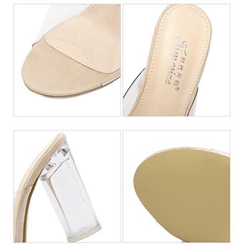 PBXP Pendenti popolari di nozze di cristallo Heel del tallone trasparente del tallone di cristallo chunky delle donne del piede superiore delle donne del piede delle donne femminili 35-40 , apricot ,