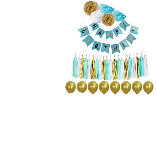 Noon-Sunshine decorative-plaques Happy Birthday Banner Tissue Paper Tassel Bunting Garland Pom Pomsation,Style 6