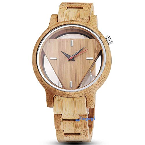 Quartz Wooden Watches for Men Hand-Made Engraved Geometric Triangle Wood Watch Man Minimalist Wristwatches Birthday Christmas Gifts