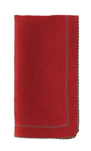 Bodrum Picot Red & Evergreen Linen Napkins (Set of 6) by Bodrum