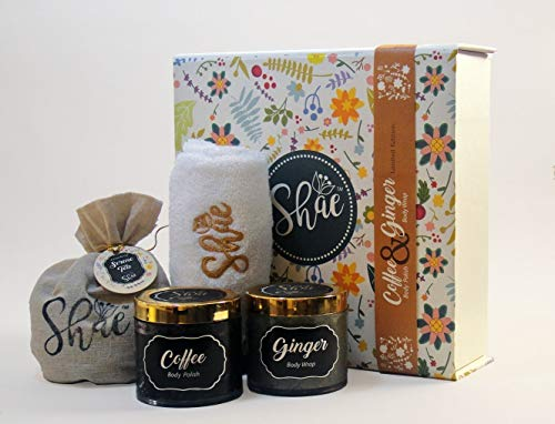 Coffee Body Scrub & Ginger Body Wrap - Shae Spa Gift Kit by Magenta Pie Co