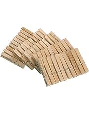 Wenko 3707501100 Wäscheklammern, 50-teilig aus FSC zertifiziertem Echtholz, Holz, 1 x 7 x 1 cm, Braun