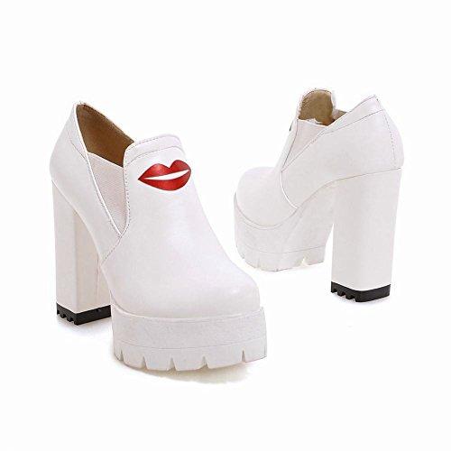 Mee Shoes Damen chunky heels Plateau runde Pumps Weiß