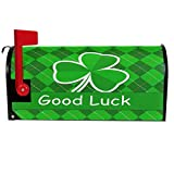 Wamika St Patrick's Day Plaid Clover Mailbox Cover