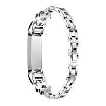 Fitbit Alta Strap Bands, Replacement Fitbit Fitness Wristband Smart Watch Stainless Steel Buckle Clasp Link Bracelet for Fitbit Alta 2016 / Fitbit Alta HR 2017