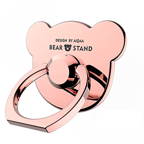 Yannuo Full Metal Cell Phone Finger Holder,Cute Bear Shape,4 Colors Available, Adjustable Angle,Universal for IPhone,IPad,Samsung,HTC,Nokia Smartphones,Tablets (Shape Cell Phone)