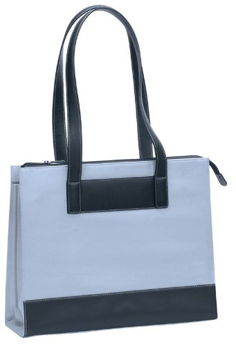 Bellino Black Suede / Leather Tote Bag (Blue) (Bellino Leather Tote)