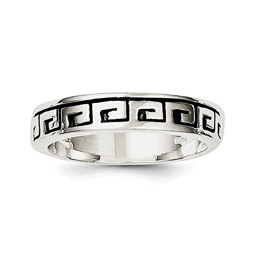 Size 9 Solid 925 Sterling Silver Greek Key Antiqued-Style Wedding Band - Mens Antiqued Wedding Ring