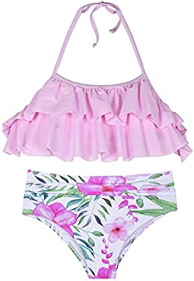 Cindys aunt Girls Swimsuits Halter Bikini Foral Ruffle Falbaba Two Piece Bathing Suits for Kids