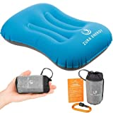 Zura Energy Ultralight Inflatable Travel Camping Pillow + Locking Carabiner + eBook, Comfortable, Compact, Ergonomic, Compressible, Beach, Hiking Gear, Neck Hammock Support While Camp Backpacking