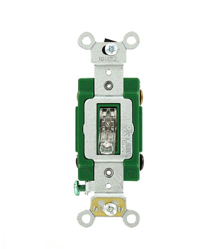Leviton 3032-PLC 30 Amp, 120 Volt, Toggle Pilot Light, Illuminated On, Double-Pole AC Quiet Switch, Extra Heavy Duty Grade, Self Grounding, Back and Side Wired, Clear