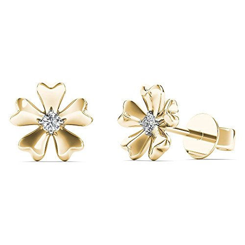 JewelAngel Kids Big Girl's Diamond Accent Flower Stud Earrings (H-I, I1-I2) 10K Yellow Gold by JewelAngel Kids