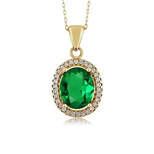 Gem Stone King 4.03 Ct Oval Green Simulated Emerald 18K Yellow Gold Plated Silver - Green Pendant Genuine Emerald Oval
