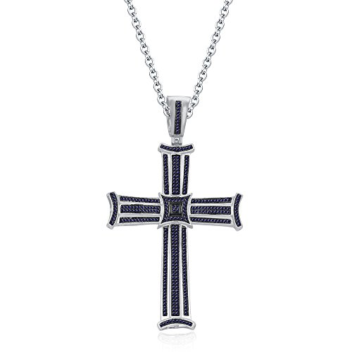 luxrygold 3 Row 14k White Gold Fn Blue Sapphire Sim Diamond Micro Pave Cross Pendant With 18