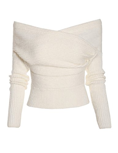 Minesiry Women's Off Shoulder V Neck Sweater Rib Knit Long Sleeve Knitted Pullover Tops (White, XL) -