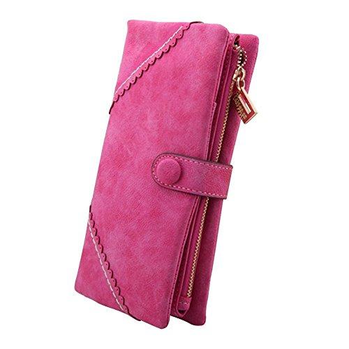 Cartera cuero de Billetera de Rosa de Gran la Monedero larga capacidad caliente seora Bolso mujer Moda H8YxwY