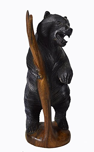 Carved Wood Statue (HUGE Hand Carved SOLID MAHOGANY Black BEAR Statue Log Cabin Sculpture Smoky)