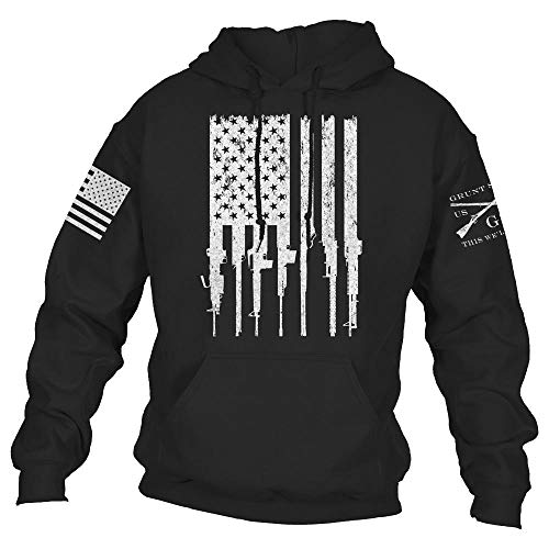 Grunt Style Rifle Flag 2.0 Men's Hoodie, Color Black, Size X-Large