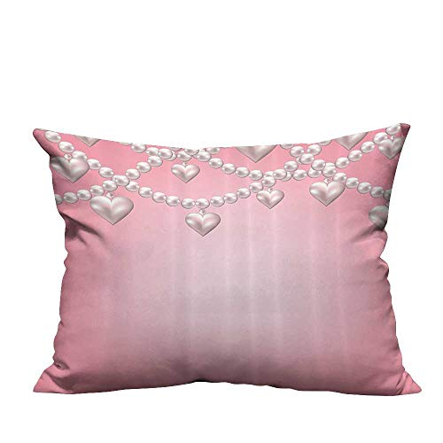 YouXianHome Zippered Pillow Covers Heart Pearl Necklace Vintage Jewel Accessory Love Celebrating Artwork Decorative Couch(Double-Sided Printing) 19.5x26 inch ()