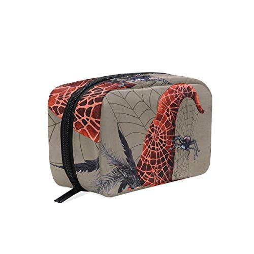 Makeup Bag Happy Halloween Spider Web Witch Hat Cosmetic Pouch Clutch -