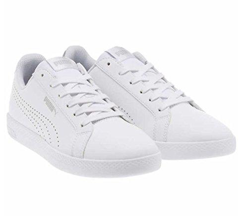 (PUMA Women's Smash WNS Perf Metallic Sneaker, White-Silver, 8 M US)