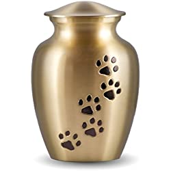 Classic Series Pet Urn - Brass with Vertical Black Paws (Small)
