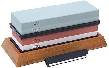 KKmoon Schleifstein Set,400//1000//3000//8000 Abziehstein mit Rutschfeste Basis und Abflachender Stein