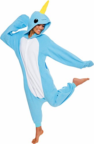 Silver Lilly Unisex Adult Pajamas - Plush One Piece Cosplay Narwhal Animal Costume (Light Blue, Small)