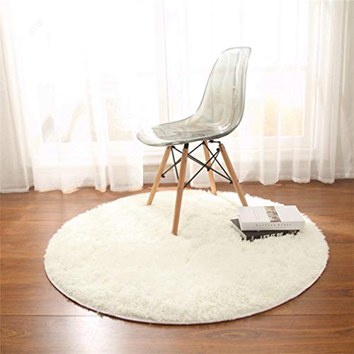 GIY Shag Solid Round Area Rugs Soft Plush Living Room Carpet Circular Children Bedroom Rug Bathroom Mats Home Decorate Fashion NonSlip Modern Runners white 5#039 X 5#039