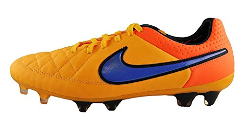 Nike Mens Tiempo Legend V FG Soccer Cleats, Color:Laser Orange/Volt/Violet, Size:9