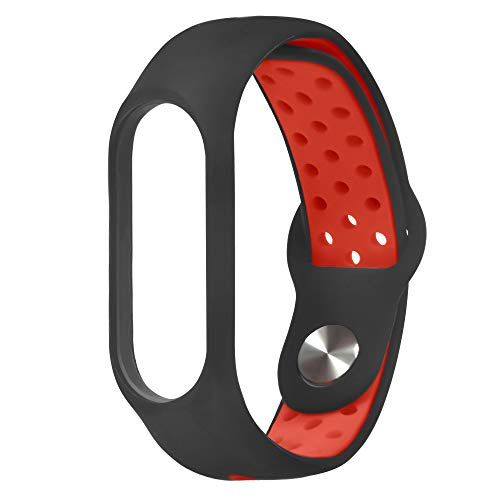 Kiorc Replacement Ventilate Sport Wristband Wrist Strap for Xiaomi Mi Band 3 (Red) (Heavy Punch Duty Adjustable 1/2)