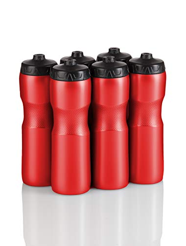 50 Strong Jet Stream Sports Squeeze Water Bottle with One-Way Valve - Team Pack - Set of 6 Bottles- 28 oz. - Made in USA (Red/Black)