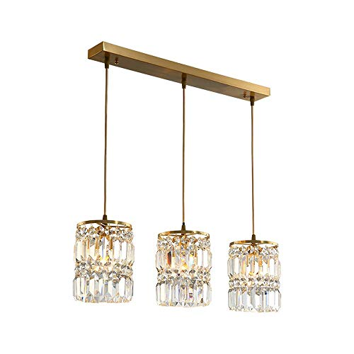 GLXDDB Copper Lamps Postmodern Crystal Chandelier Simple Restaurant Light Bar Creative Lamp Nordic Personality Atmosphere Light Copper Frame E14x1/3 Glass Shade A+ (Size : 3lamps)