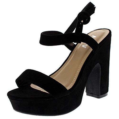 Donna Il Piattaforma Cinghiapy Moda Nero Piede Di Blocco Tacchi Sandali Alto Tallone Aprire U0AUfrqw4