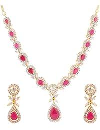 American Diamond CZ Zircon Fashion Jewelry Set Necklace Earrings Multi-Colour