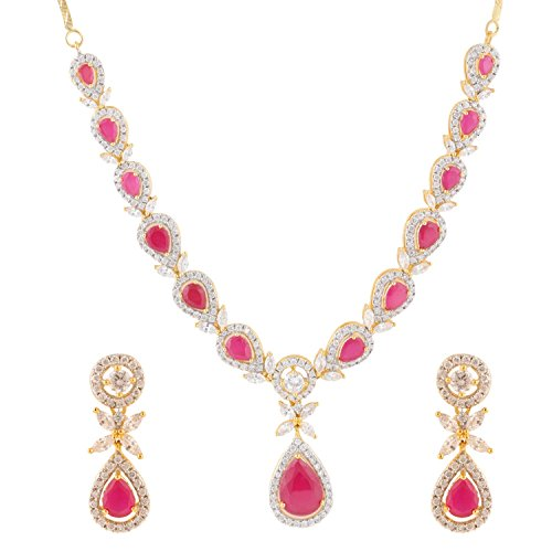 Swasti Jewels American Diamond CZ Zircon Fashion Jewelry Set Necklace Earrings Multi-Colour by Swasti Jewels