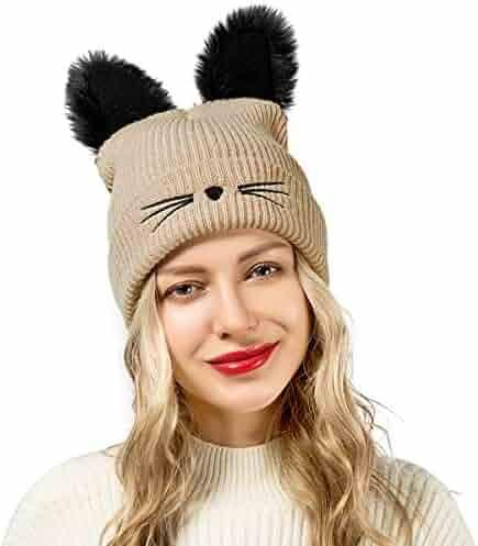 Flowomen Winter Hats for Women Cute Cat Ear Hat with Embroidered Warm Knit  Crochet Women s Slouchy e16c923f117c