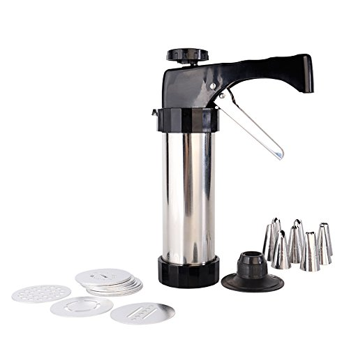 YIYATOO Stainless Steel Biscuit Cookie Press Gun,13 Stainless Steel Cookie Discs and 8 Icing Tips
