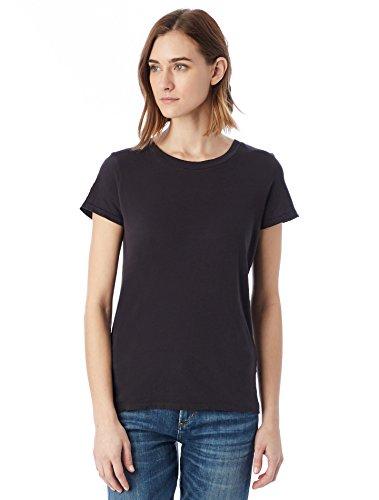 Alternative Women's Distressed Vintage Short Sleeve Tee, Smoke, Medium Cotton Distressed T-shirt
