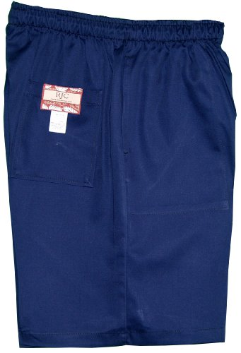 Back Elastic Twill Shorts (Men's Elastic Waistband 3 Pockets Cotton Twill Solid Shorts in Navy Blue -)