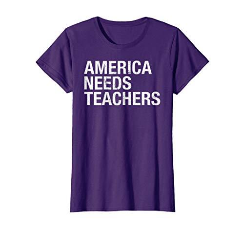 Womens America Needs Teachers Professor Academic Leaders T-Shirt Large (Need Juniors T-shirt)