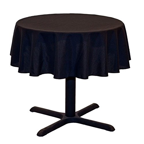 LinenTablecloth Round Cotton Feel Tablecloth, 51-Inch, Black