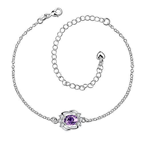 - FushoP Silver Ankle Bracelet Ankle Chain Anklet, Silver Anklet for Women Flower Hollow foot chain with CZ Crystal Adjustable Ankle Bracelet (Purple)