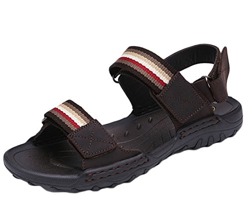 SK Studio Hombre Sandalias de Cuero Outdoor Deportivas Transpirables Zapatos Con Velcro Marron Oscuro