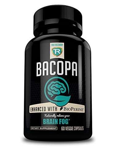 Bacopa Extract - Extra Strength Bacopa Monnieri 750mg + Bioperine for Enhanced Absorption - Eliminate Brain Fog | 20% Bacosides Extract - Vegetarian Supplement - 60 Capsules by True Recovery