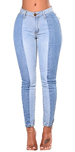 Dunland Donna Color Block Pantaloni Vestibilit`a Regular Skinny Denim Vita H7TFzqrHx