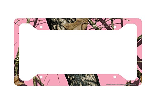 Airstrike Pink Camo License Plate Frame, Mossy Oak Car Tag Frame, Camo License Plate Holder, Pink Break Up Camo Mossy Oak License Plate Frame-30-8013