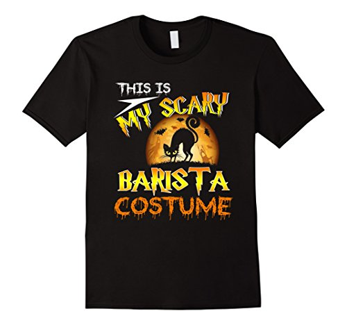 Plus Size Barista Costumes (Mens My Scary Barista Costume TShirt Cat Moon Halloween 3XL Black)